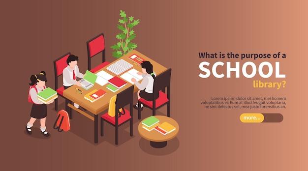 Izometryczny poziomy baner gimnazjum z dziećmi czytającymi książki przy stole z przyciskiem i