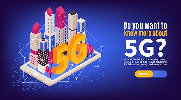 Izometryczny poziomy baner internetowy 5g z tekstem przycisku suwaka i wysokimi budynkami na smartfonie