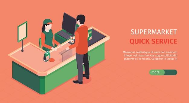 Izometryczny poziomy baner supermarketu z postacią kasjera przy kasie z klientem