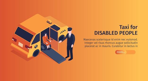 Izometryczny poziomy baner taksówki z przyciskiem do edycji tekstu więcej i obrazem pasażera taksówki na wózku inwalidzkim