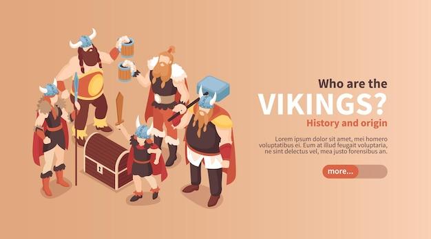 Izometryczny poziomy baner wikingów