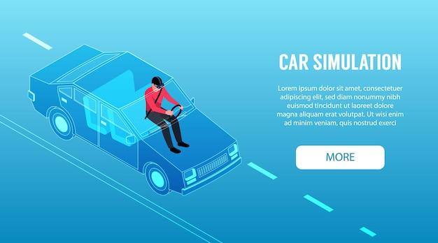 Izometryczny poziomy baner wirtualnej rzeczywistości z człowiekiem za pomocą ilustracji 3d symulatora jazdy samochodem