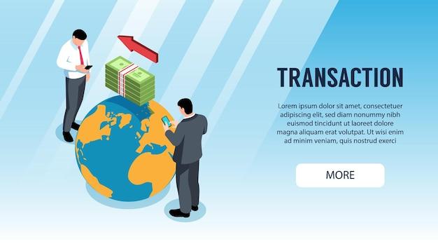Izometryczny poziomy baner z ludźmi robiącymi transakcje bankowe