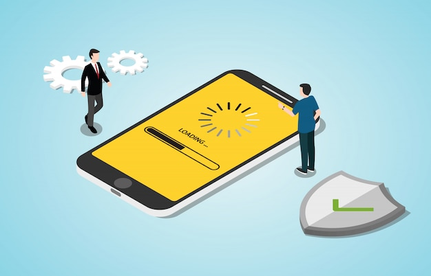 Izometryczny proces aktualizacji systemu 3d z aplikacjami na smartfony