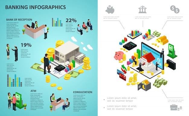 Izometryczny proces bankowy infografika z płatnościami online pieniądze monety złote sztabki kalkulator klienci pracownicy banku
