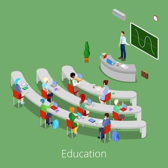 Izometryczny proces edukacyjny. płaska 3d uniwersytecka sala wykładowa z nauczycielem i uczniami.
