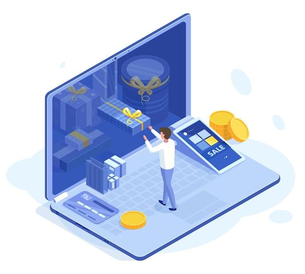 Izometryczny program lojalnościowy dla klientów 3d. ilustracja wektorowa programu lojalnościowego dla klientów sklepu internetowego. kupuj bonusy lojalnościowe dla klientów