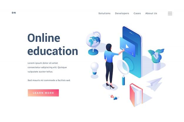 Izometryczny projekt banera z uczniem korzystającym z aplikacji mobilnej wokół przedmiotów edukacyjnych promujących stronę internetową o edukacji online na białym tle