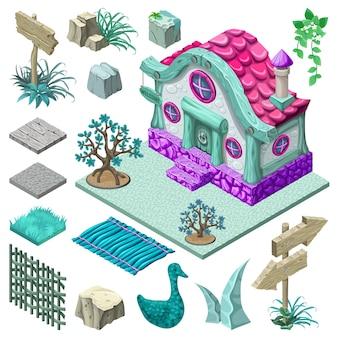 Izometryczny projekt domku i elementów.