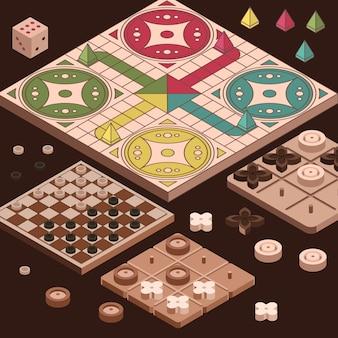 Izometryczny projekt kolekcji gier planszowych