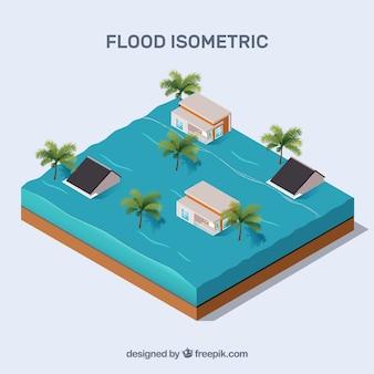 Izometryczny projekt koncepcji powodzi