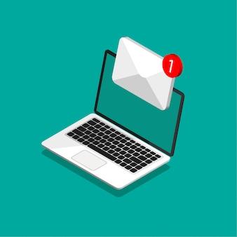 Izometryczny projekt laptopa z kopertą i dokumentem na ekranie. pobieranie lub wysyłanie nowego listu. e-mail, marketing e-mailowy, koncepcje reklamy internetowej w modnym stylu. ilustracja.