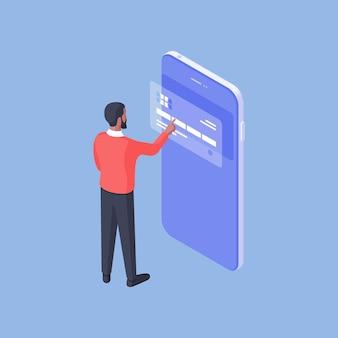Izometryczny projekt mężczyzny za pomocą smartfona i dający dostęp do poświadczeń karty bankowej przy użyciu nowoczesnej aplikacji bankowej na niebieskim tle