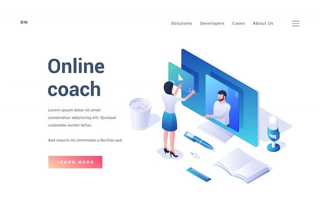 Izometryczny projekt nowoczesnego banera internetowego z kolorowymi ikonami i osobami oferującymi kurs trenera online na białym tle
