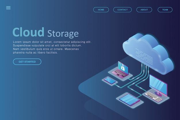 Izometryczny projekt ocieplenia strony docelowej chmury