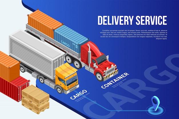 Izometryczny projekt prezentacji usługi dostawy