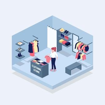 Izometryczny projekt sklepu z odzieżą