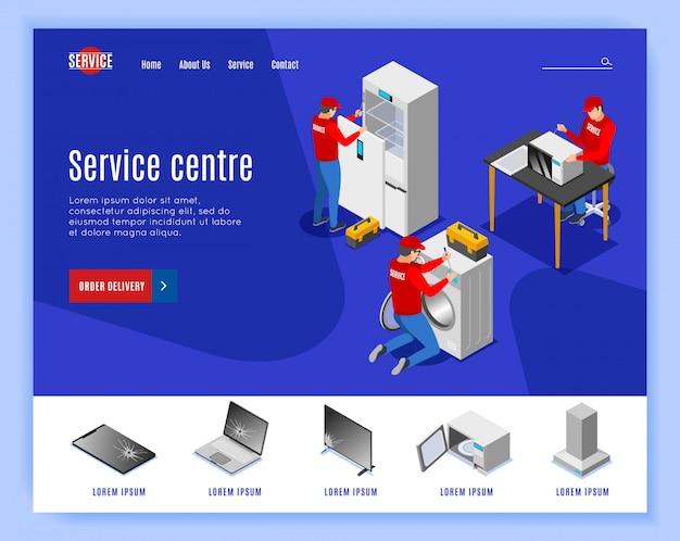 Izometryczny projekt strony docelowej centrum serwisowego z edytowalnymi tekstowymi klikalnymi linkami i obrazami przedmiotów