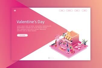 Izometryczny projekt strony docelowej Walentynki