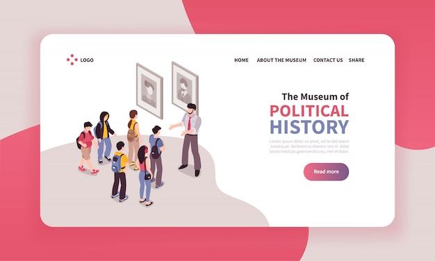 Izometryczny projekt strony docelowej wycieczki z klikalnymi linkami tekstowymi i widokiem grupy wycieczek do muzeum
