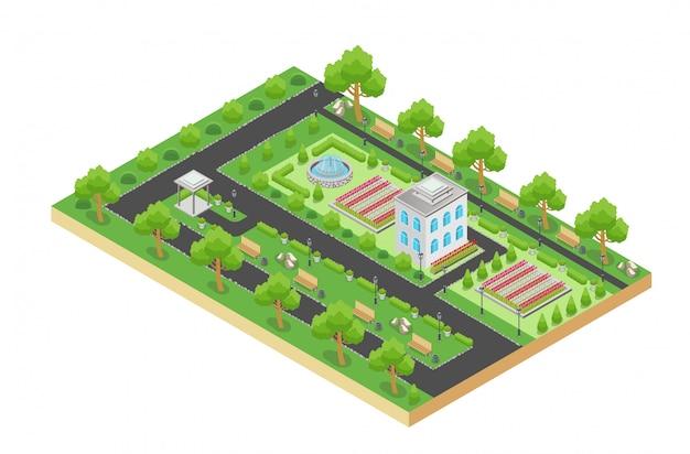 Izometryczny projekt wektorowy zielonego parku miejskiego z terenem rekreacyjnym i drzewami na białym tle.