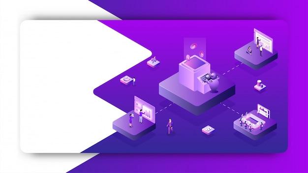Izometryczny projekt wirtualnej platformy wymiany walut.