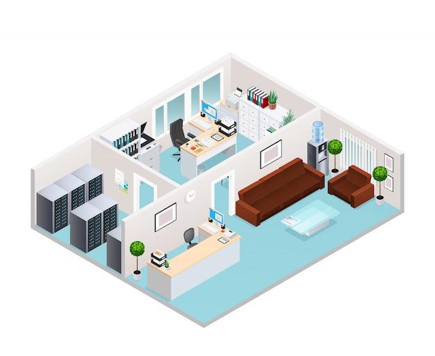 Izometryczny projekt wnętrz biurowych