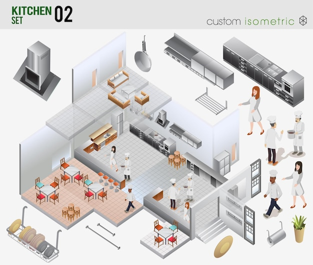 Izometryczny projekt wnętrza restauracji fastfood