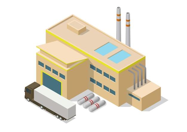 Izometryczny prosty budynek przemysłowy ikona