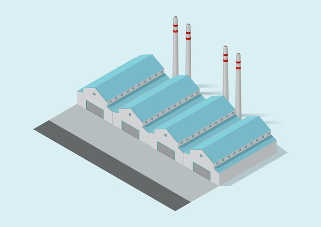 Izometryczny prosty budynek przemysłowy