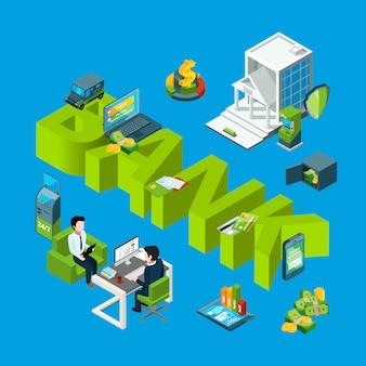 Izometryczny przepływ pieniędzy w banku ikony infografikę ilustracja