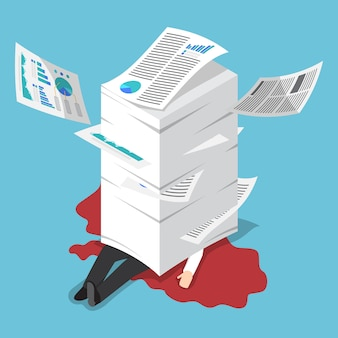 Izometryczny przepracowany biznesmen pod stosem papieru