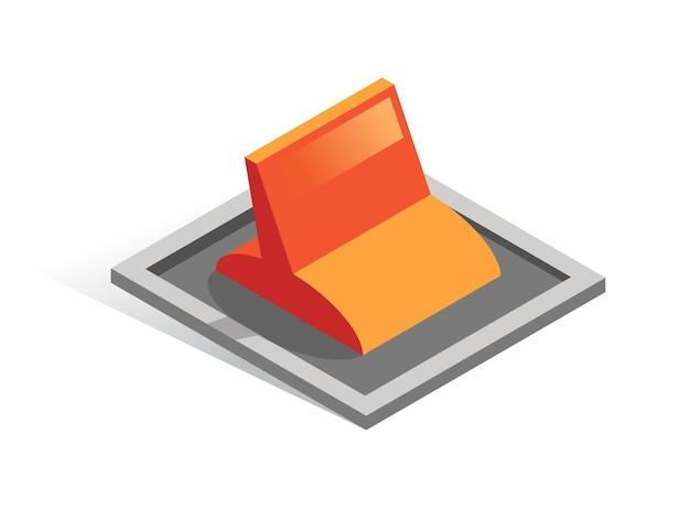 Izometryczny przycisk na białym tle