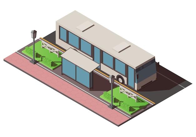 Izometryczny przystanek autobusowy