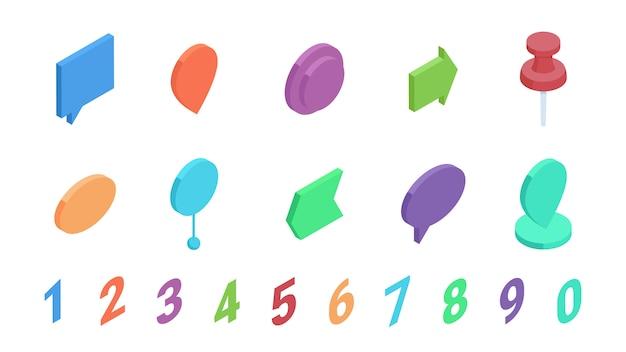 Izometryczny punktor z liczbami wektor zestaw ilustracji