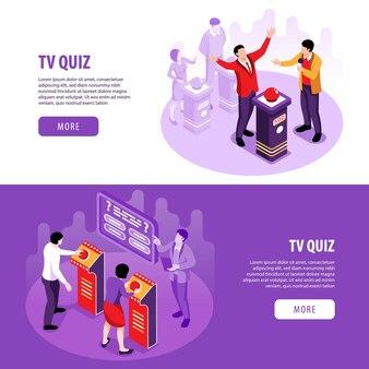Izometryczny quiz telewizyjny poziome bannery zestaw ilustracji