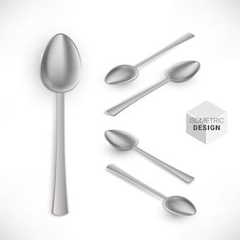 Izometryczny realistyczny srebrny zestaw łyżek na białym tle