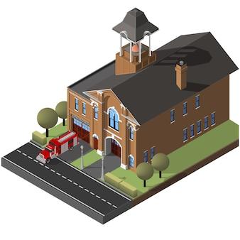 Izometryczny remiza strażacka i wóz strażacki.