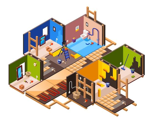 Izometryczny remont domu wnętrza i etapy prac remontowych w przekroju domu.