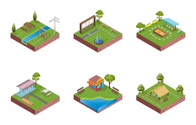 Izometryczny rysunek parku blokowego działa jak puzzle