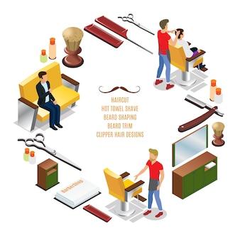 Izometryczny salon fryzjerski okrągły skład z fryzjerami klientów elementy wnętrza grzebienie szczotka do golenia nożyczki ręczniki