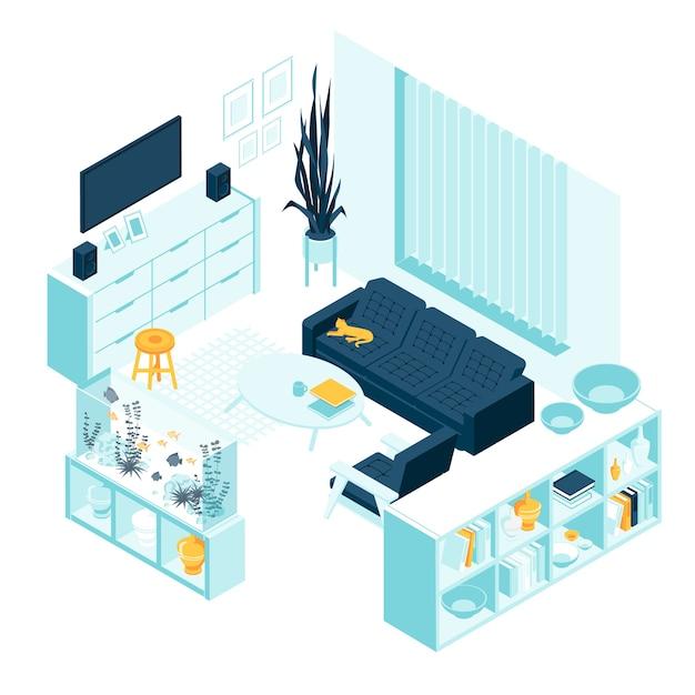 Izometryczny salon z meblami domowymi