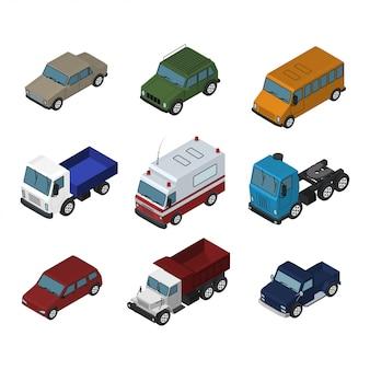 Izometryczny samochód, ciężarówka i autobus