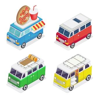 Izometryczny samochód. ciężarówka z żywnością. kamper rodzinny. transport izometryczny.