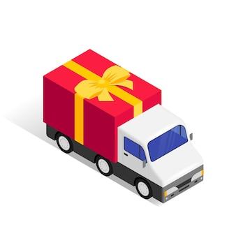Izometryczny samochód dostawczy prezent na białym tle. wakacje usługi wysyłki towarów koncepcja 3d.