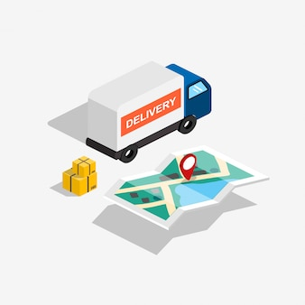 Izometryczny samochód dostawczy z mapą trasy i skrzyniami