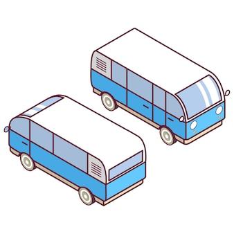 Izometryczny samochód dostawczy.