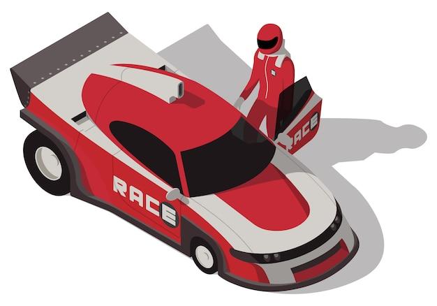 Izometryczny samochód wyścigowy i zawodnik na białym tle