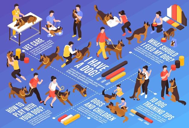 Izometryczny schemat blokowy jednego dnia psa z psami z weterynarzami trenerów i ilustracją tekstową