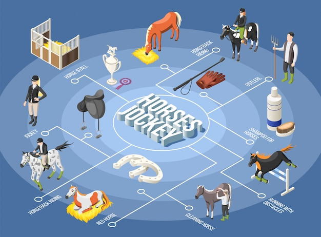 Izometryczny schemat blokowy koni i dżokejów